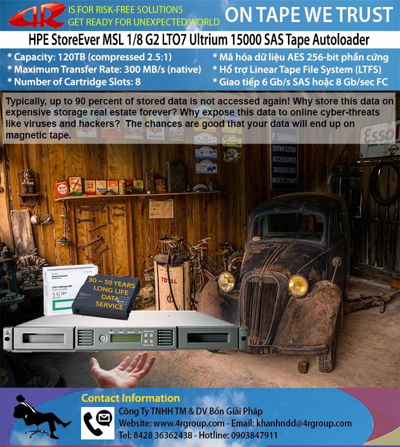 HPE StoreEver MSL 1/8 G2 LTO7 Ultrium 15000 SAS Tape